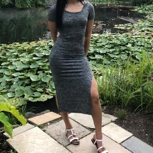 Grey and white dress with slit